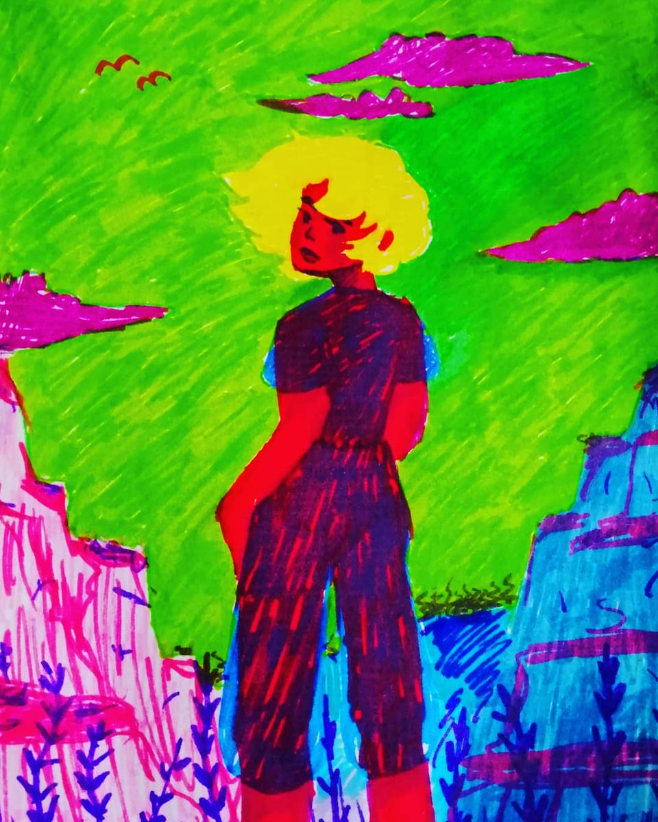 Alien world #art #artist #artists #myart #color #watercolor #girl #chill #pencils #markers #draw #drawing #pose #red #yellow #yellowhair #greensky #pink #purple #birb #alien #doodle #clouds #rip #me