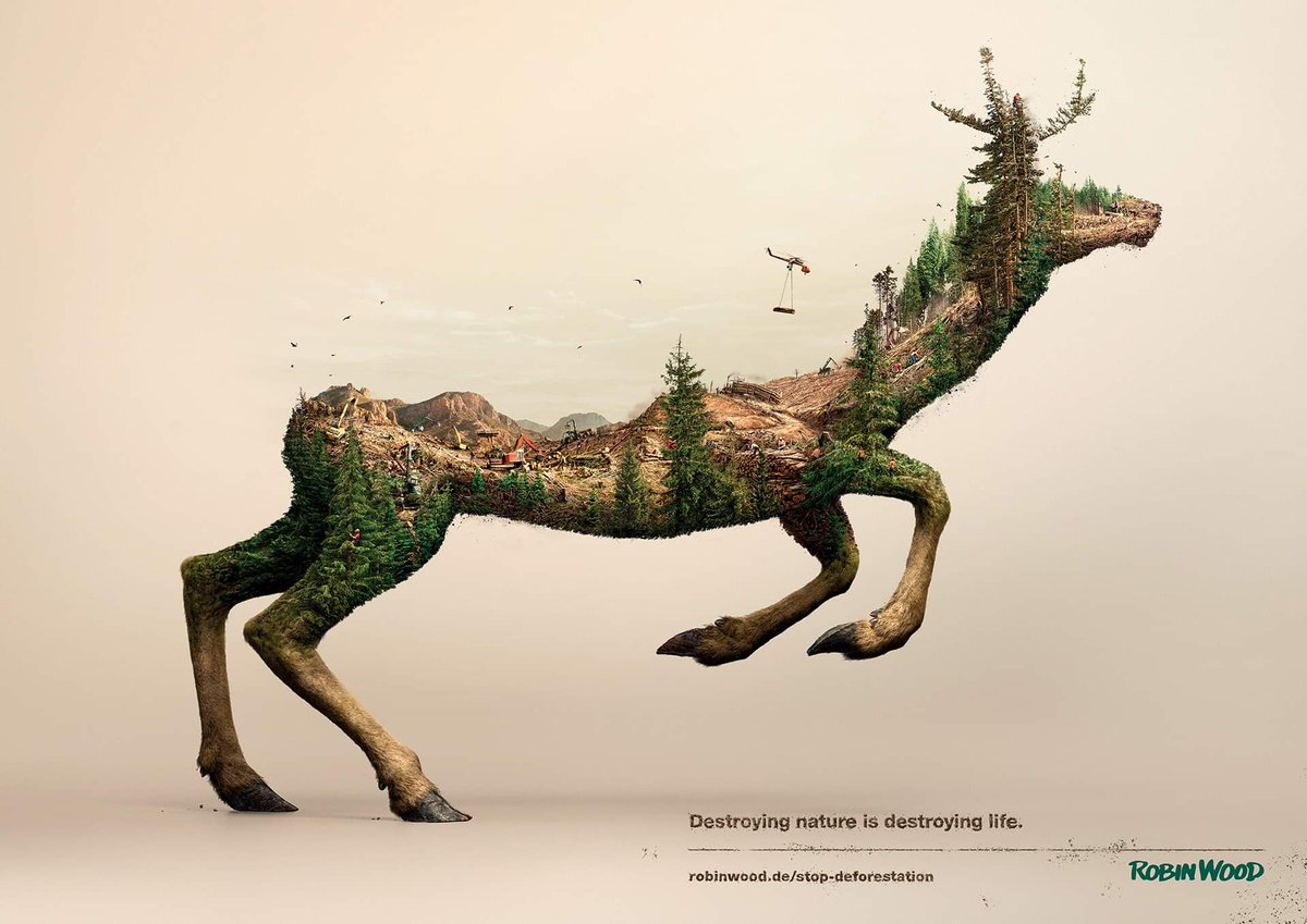 This time Illusion were on assignment to help Robin Wood, the environmental activists, by creating three powerful full CG visuals to raise public awareness of the ongoing destruction of animals' natural habitats... #ViralAdsNow #PrintAdvertising #Print #Marketing