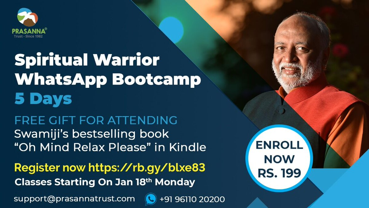SPIRITUAL WARRIOR ONLINE BOOTCAMP PROGRAM TO ACHIEVE ONE'S DREAMS BY SWAMI SUKHABODHANANDA  New Batch Starts from 18th Jan Monday  For More Details Visit:   #Wisdom #Charity  #Clarity #Peace #Spiritualwarrior #PrasannaTrust