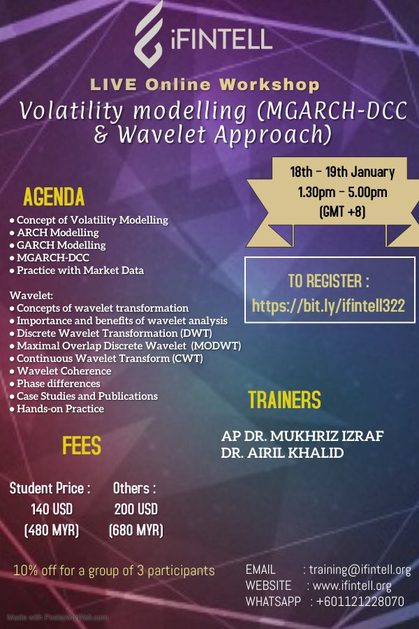 Join the Online Workshop on  Volatility Modelling (MGARCH-DCC & Wavelet Approach)   Register today to secure your seat 👉🏻  #iFINTELL  #intelligence #integration #impact