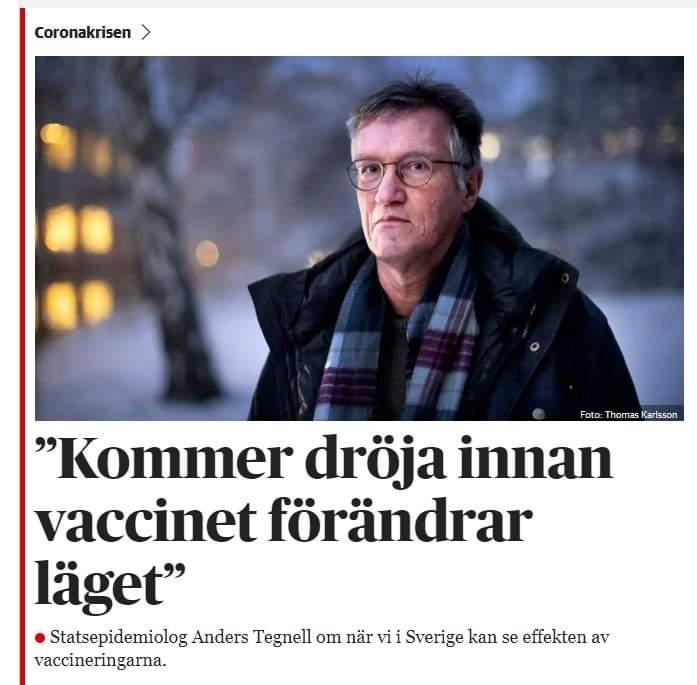 Samtidigt som vi får förvisso tidiga men ändock positiva signaler från Israels vaccinering så har vi här i Sverige vår helt egen statsepidemiolog, äntligen har han hittat något han gladeligen problematiserar som den värsta dysterkvisten. https://t.co/8kt5BcO5ye