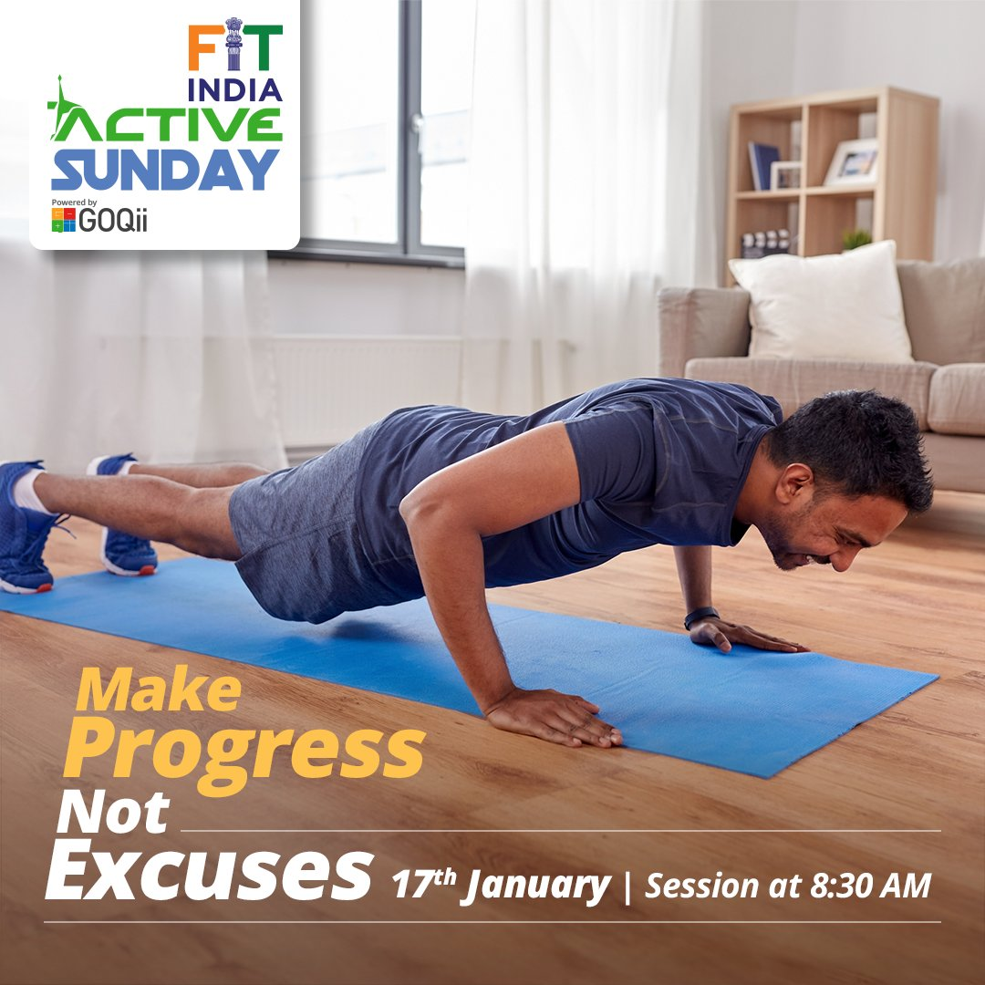 Make this a no excuse year with #FitIndiaActiveSunday LIVE sessions on #GOQiiPlay. Download the @GOQii app today to meet your health goals- <  >  #NewIndiaFitIndia  @KirenRijiju @IndiaSports @vishalgondal