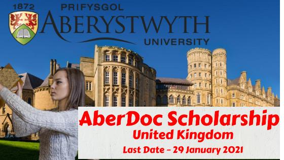 AberDoc Scholarship at Aberystwyth University, United Kingdom