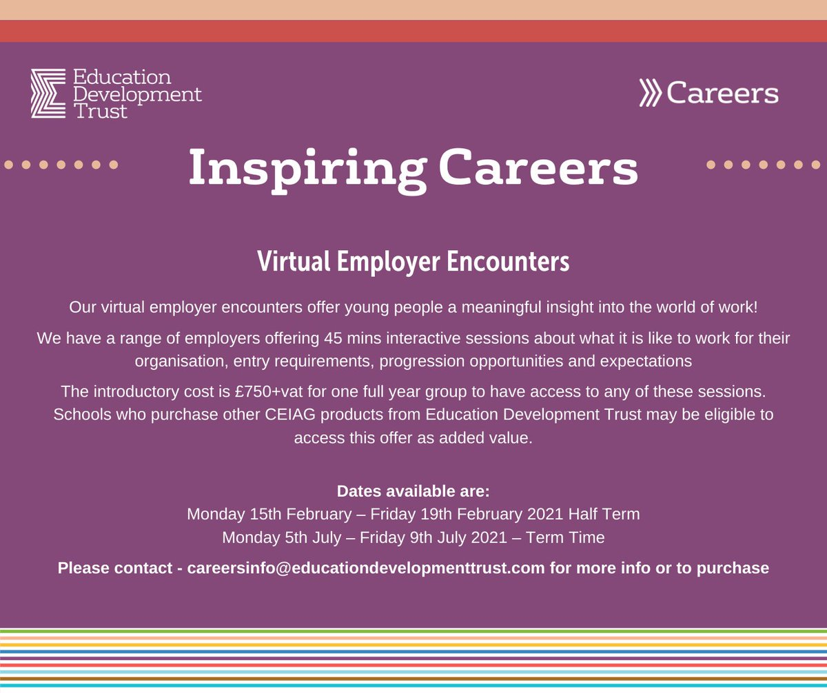 Virtual Employer Encounters -Include @cabinetofficeuk @PetsatHome @LondonFire @CandTVStudio looking forward to engaging with #students to inform them of the World of Work #Careers #Impact #WorkExperience
