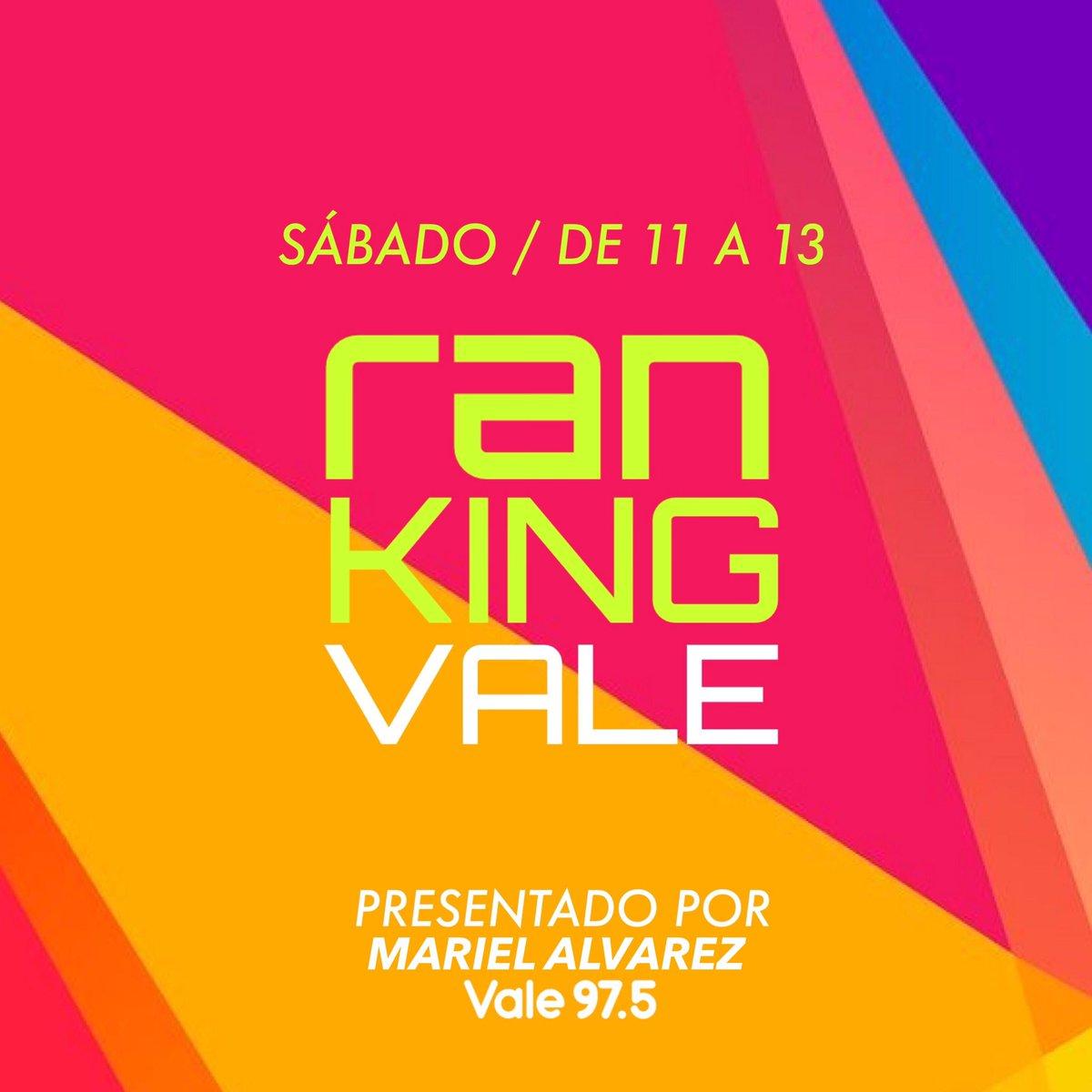 Hoy desde las 11, la lista de éxitos más calientes de la Argentina! 🇦🇷🔥#RankingVale 💥🏆🎤 Presentado por:  🎙> @marielalvarez1  Podés escucharlo: 📻> En tu radio FM 97.5 📱> En nuestra App Radio Vale 💻> En   Estás listo? 🙌