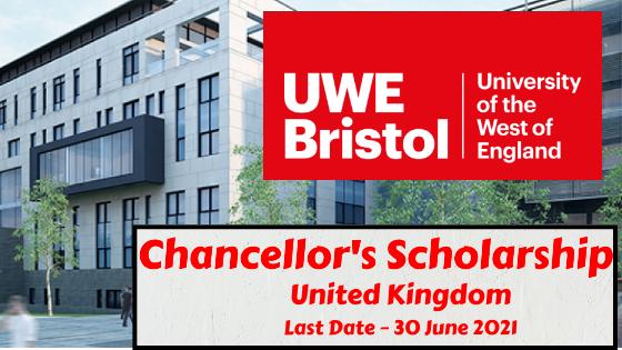 Chancellor's Scholarship at UWE Bristol, United Kingdom