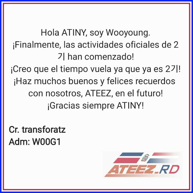 ➯[📩] Mensaje de WooYoung enviado a ATINY 2기💌 ⏳210116  Cr: transforatz  Trad Esp: ateez_rd | W00G1  #ATEEZ #에이티즈 @ATEEZofficial #WOOYOUNG #JungWooyoung #우영 #정우영