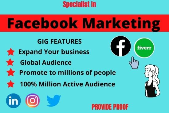 I can do the job of Facebook marketing in a very good way.  Gig link= profile link= #SaturdayMorning #NavalAcademy #JayB