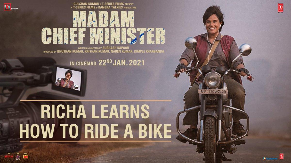 Watch Tara Roop Ram a.k.a. me, learn how to ride a bike! A revolution is coming, #MadamChiefMinister releasing on 22nd January. Only 1 week to go. Stay tuned!   @saurabhshukla_s #ManavKaul @TSeries #BhushanKumar #KrishanKumar @subkapoor @KangraTalkies