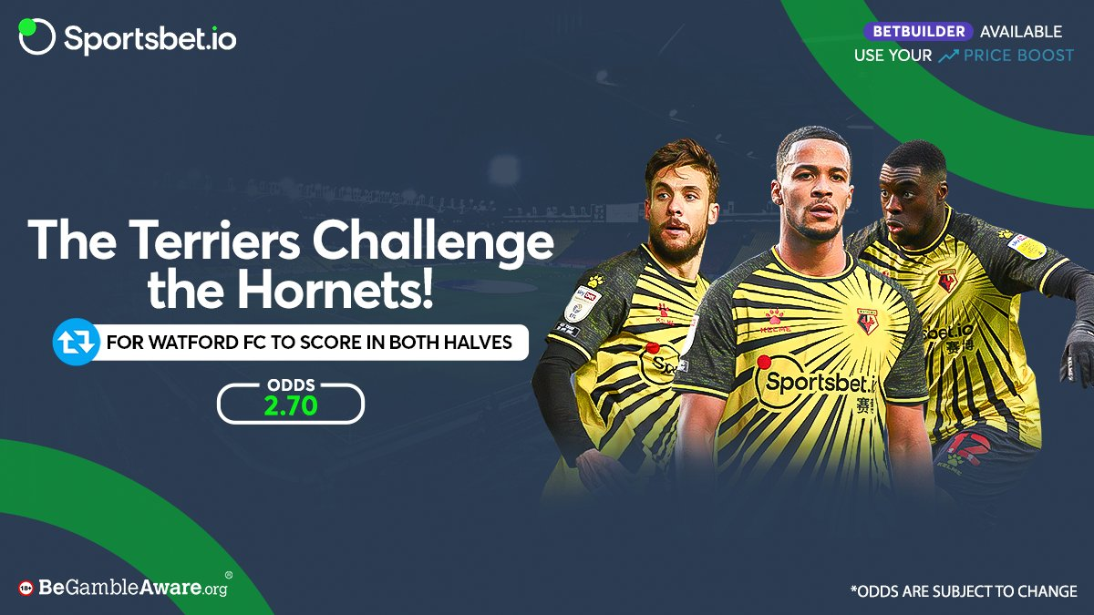 The Hornets scored 3 goals against the Terriers in their last meeting at Vicarage Road with goals in both halves! 🐝 💪  Will @WatfordFC score in both halves again? 💯 🔥  Odds - 2.70 🚀  Head to  and win big with the Hornets! 🤑  #WATHUD #Matchday #COYH