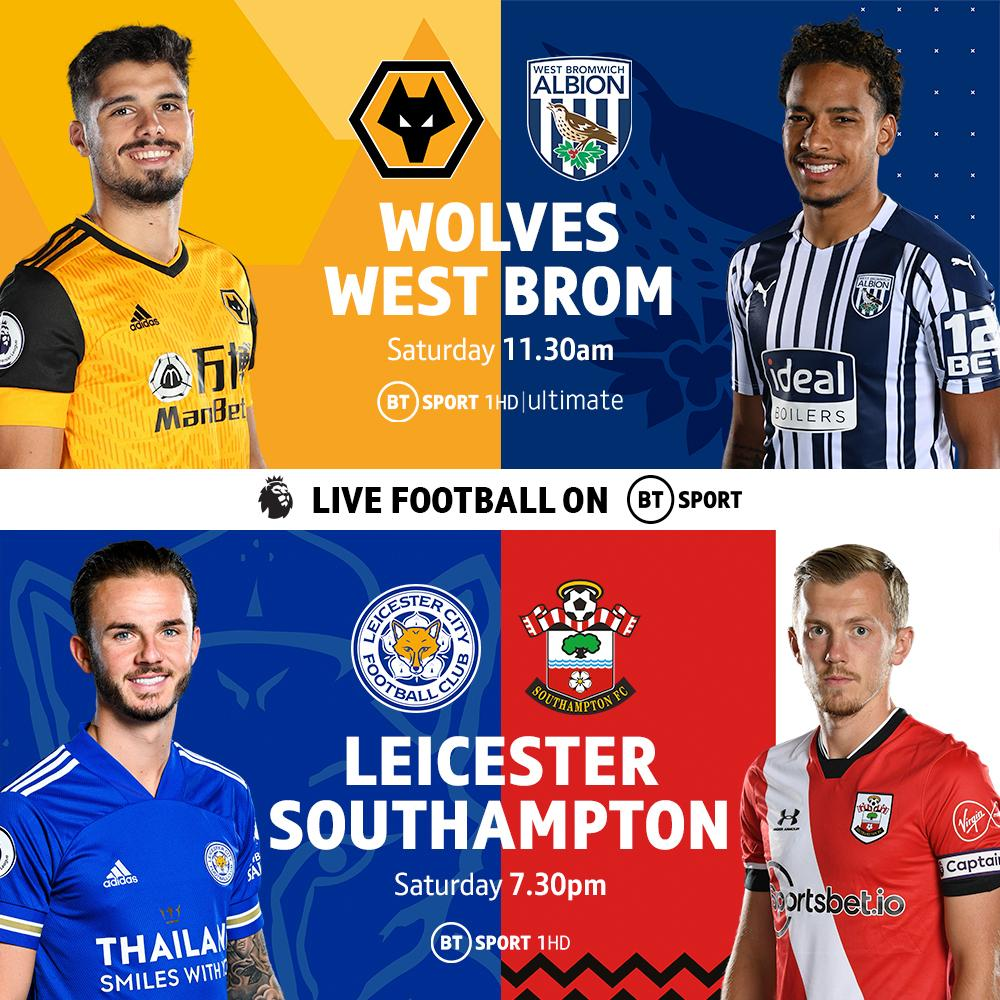 The Baggies, the Foxes, the Saints and Wolves are all live on @btsport today. Two Premier League matches to enjoy from 11:30 AM.  Not got BT broadband and want to watch BT Sport? We've got you sorted, check out BT Monthly Pass:
