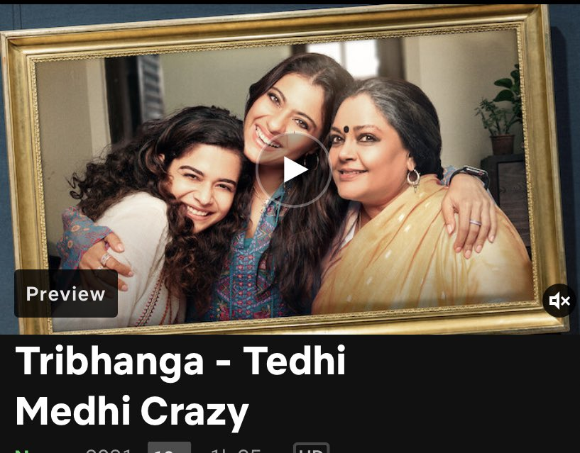 #Tribhanga A @netflix original film, backed by @ajaydevgn production banner is worth a look. A gripping emotional drama with three strong women in the lead A BIG round of applause to @itsKajolD who is simply awesome 👏 👏👏👏 @renukash @ikunaalroykapur