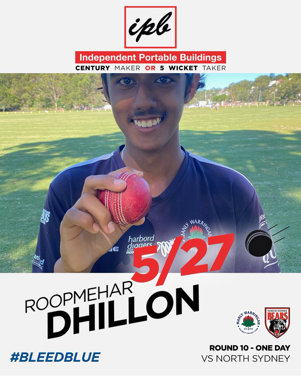 Roop Dhillon. Remember the name. In becoming an Independent Portable Buildings Century Maker or 5 Wicket Taker today, he recorded his 3rd 5fa for the club at the ripe old age of 15. Leggies take a while to develop & mature but today he showed he has all the skills #bleedblue