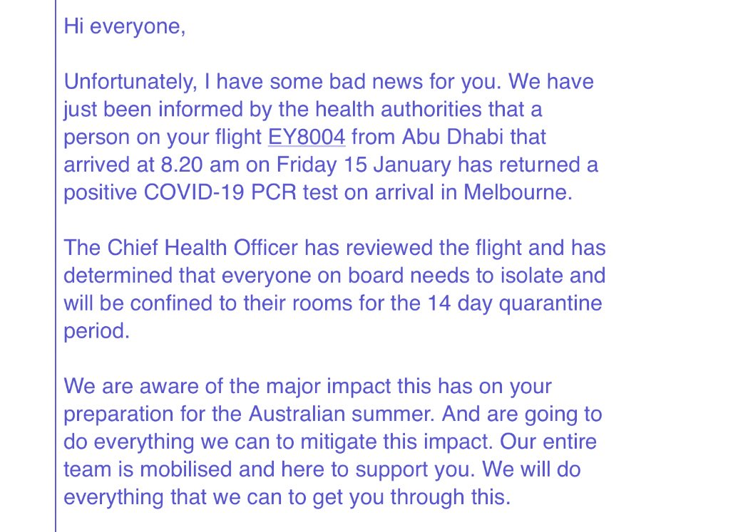 One person on the flight I was on from Abu Dhabi tested positive. So now everyone else who was on that flight has a 14 day quarantine where we are NOT allowed out our rooms. The same happened on one of the chartered flights from Los Angeles. 2 flights... so far https://t.co/3JfkjqETwu