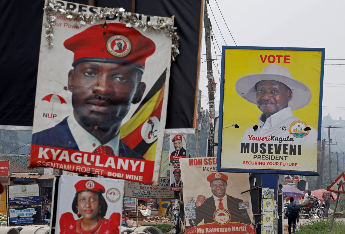 #UgandaDecide2021  Early election results show long time #Uganda president #Yoweri Museveni in a clear lead heading for his sixth term.  Ugandans voted in a crucial election after rounds of violent campaigning as opponent #BobiWine & his supporters were targeted by federal forces