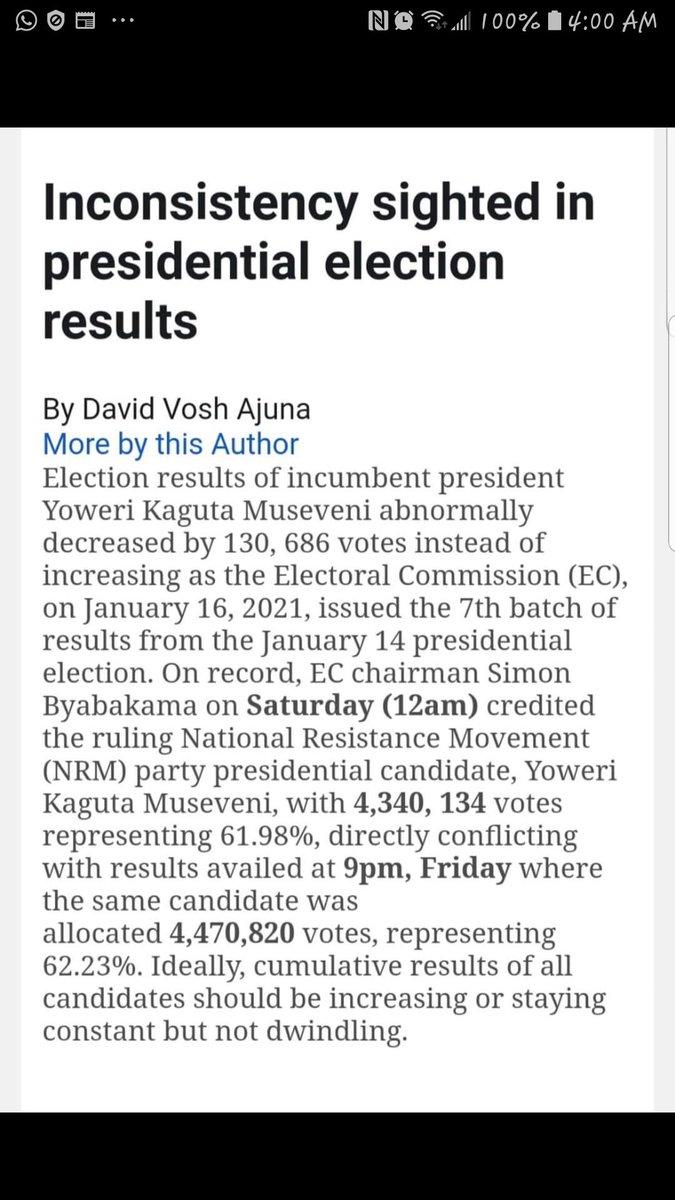 @RugyendoQuotes @mkainerugaba @USAmbUganda @KagutaMuseveni #Uganda election thieves red handed! @KagutaMuseveni Remember #DailyMonitor story earlier where Dictator #Museveni's numbers went down instead of up? It's Removed from Monitor's website Hope reporter is safe @StateDept @SecPompeo  @usmissionuganda  @ChrisCoons  @SenatorMenendez