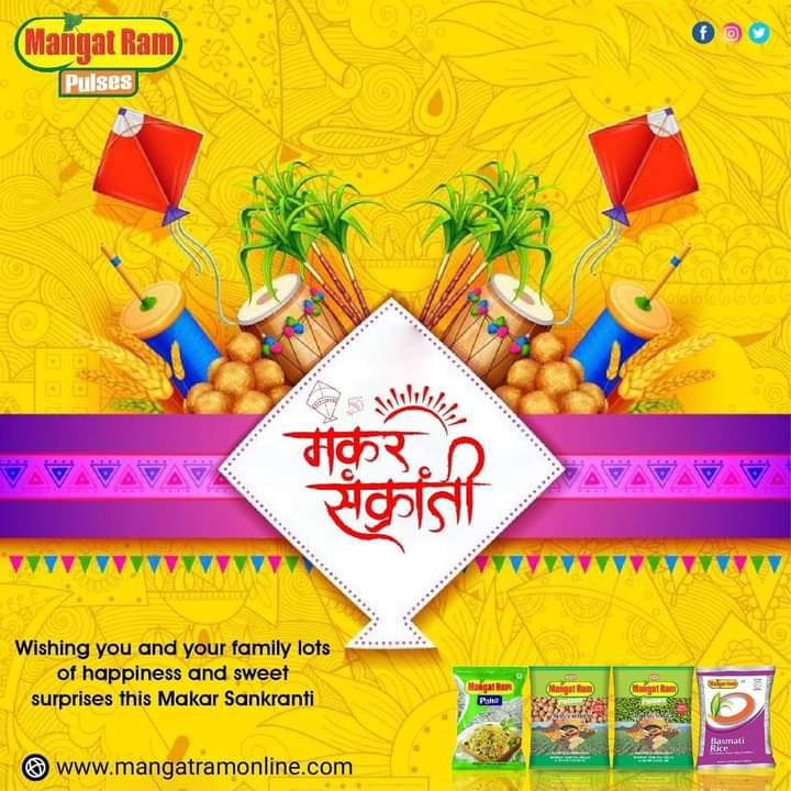 """wishing you and your family lots of happiness and sweet surprises this Makar Sankranti.""  🎊Happy Makar Sakranti🎊  Mangat Ram Pulses  #makarsankrant #makarsankranti #happymakarsankranti #kiteflying"