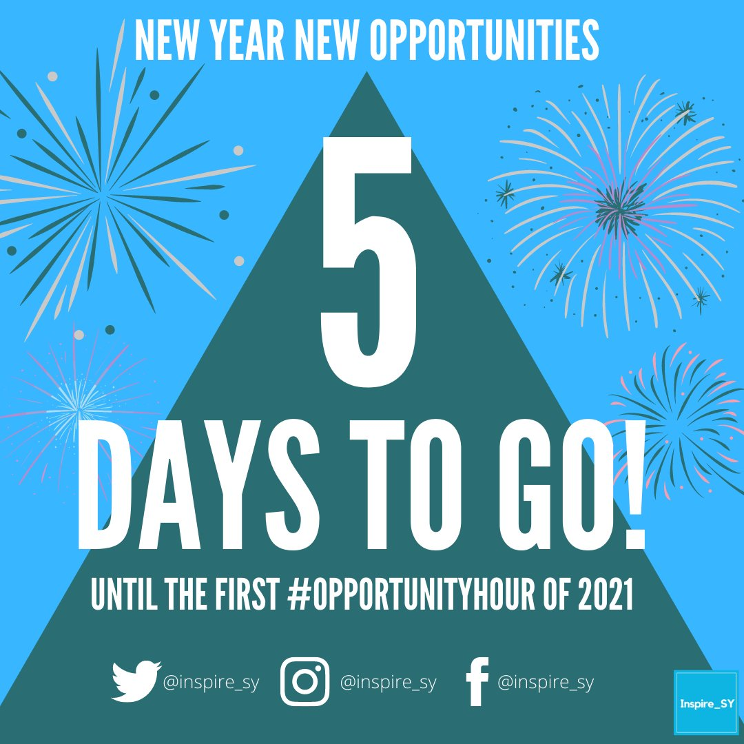 5 DAYS TO GO UNTIL THE FIRST 2021 OPPORTUNITY HOUR!  Put 21st January 1pm-2pm in your diaries as we are hosting an #OpportunityHour!📅  New Year, New Opportunities👀  #5DaystoGo #Sheffield #SouthYorkshire #Careers #Employability #Support #LoveSheffield #SheffieldisSuper