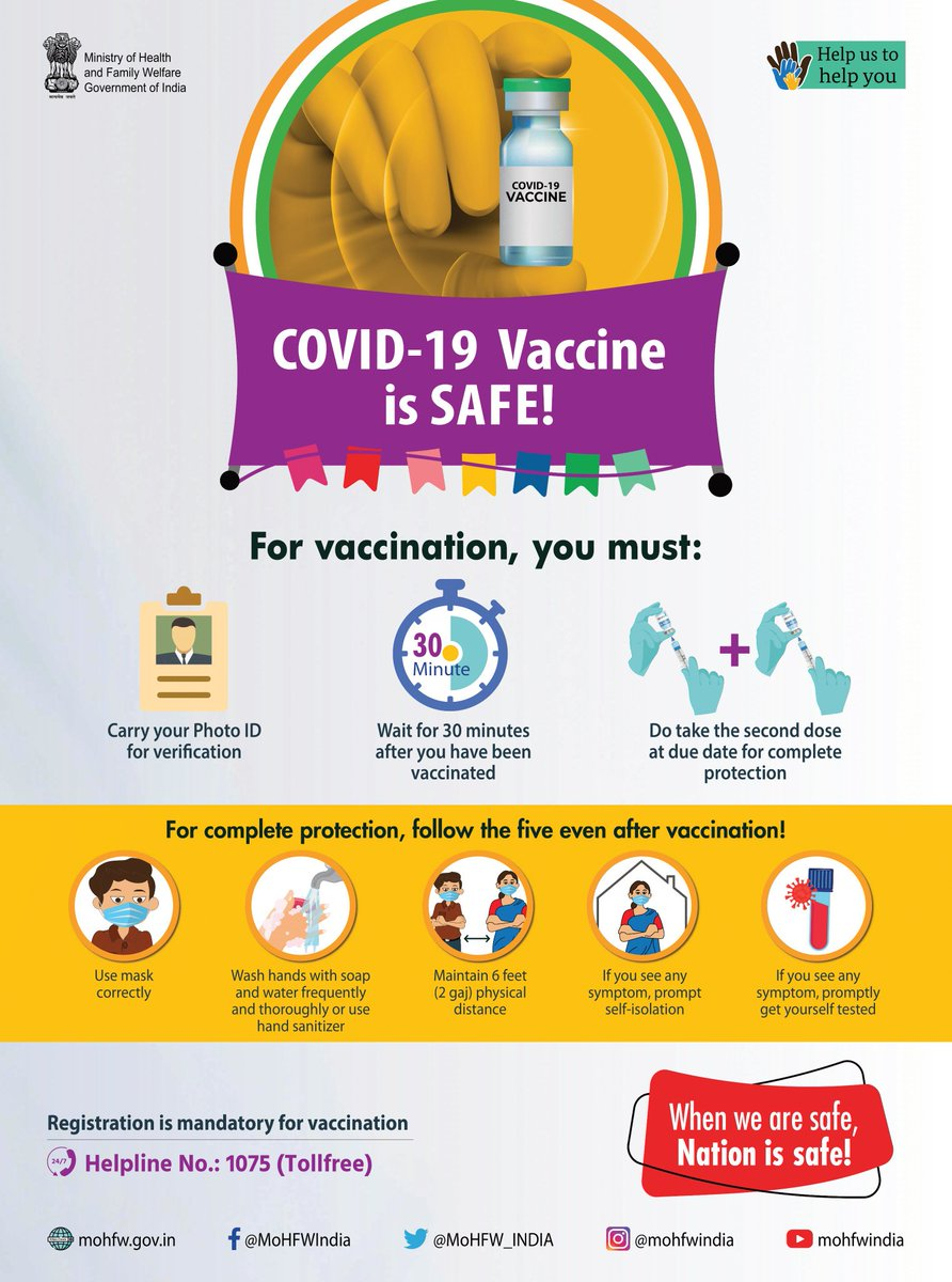 Congratulations India for starting the world's largest vaccination rollout.💯💉  For vaccination you must follow as per the image below. We are about to beat this virus.💯  #vaccination #vaccinationCovid #India #largestVaccinationdrive #CovidVaccine #COVID19Vaccine #COVID19