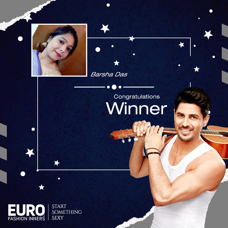 Contest is closed now. It's time to reveal the #EuroSidharthFan Lucky Winner!! Congratulations to , Barsha Das : () (Our Facebook Winner) Please DM us your contact details. #ContestWinner #Contest #EuroFashions #StartSomethingSexy