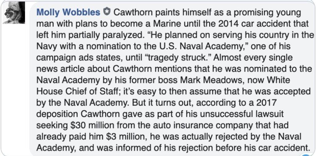 @CawthornforNC   #StolenValor  Hit the road, wheels.