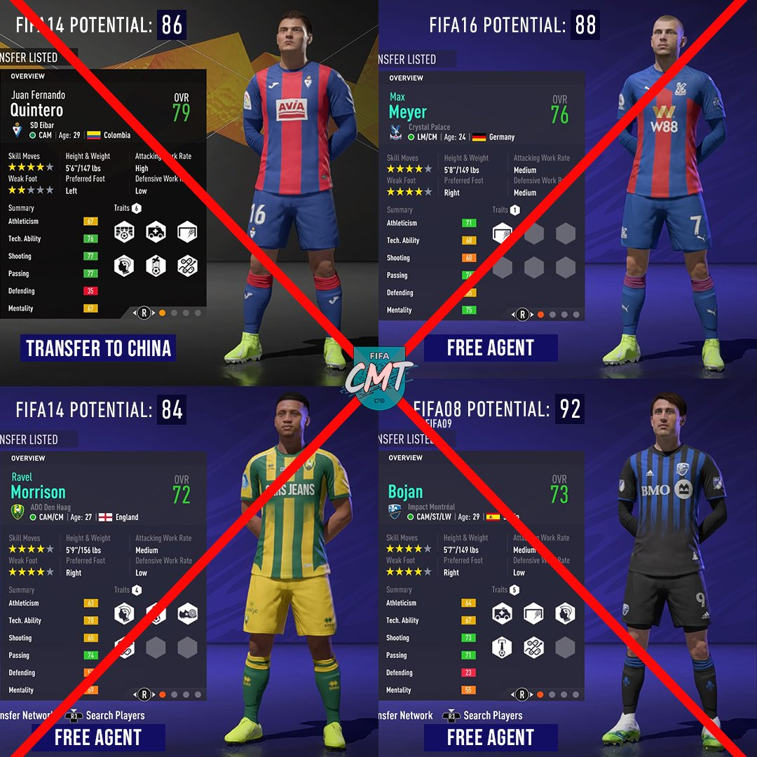 We will have to say goodbye to a few Career Mode legends as they will get removed from #FIFA21 soon 😞  Upcoming Squad Update: Quintero, Morrison, Bojan Next Squad Update: Meyer