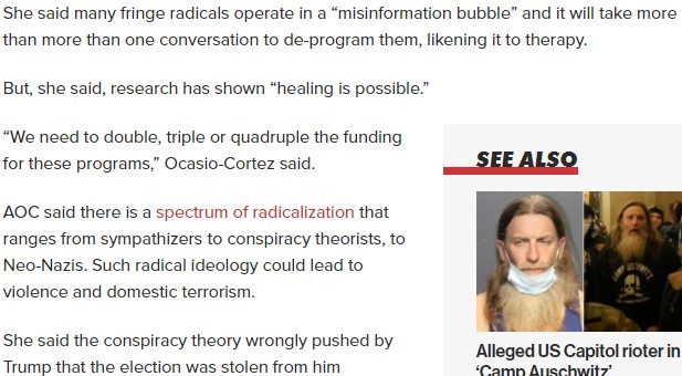 """AOC is seeking funding to deprogram conspiracy theorists??? This includes those who believe the election was stolen. She wants funding to undo the """"brainwashing"""" and insert her own beliefs. I am speechless.  @AOC #SaturdayMorning #AOCLOVESTRUMP  Oh wait.. I know what, GFYS"""