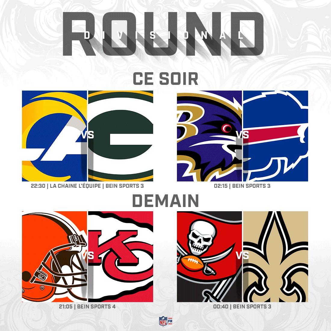 🗓️ Le programme du Divisional Round, le 2e tour des playoffs ! #NFL #NFLGamePass  • Les 4 matchs sur @beinsports_FR #NFLextra  • #RamsHouse@ #GoPackGo EN CLAIR sur @lachainelequipe #lequipeNFL