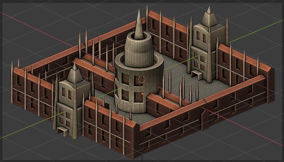 Medieval type university model for Wars of Empire II.  #gamedev #indiedev #IndieGameDev #blender #design #b3d