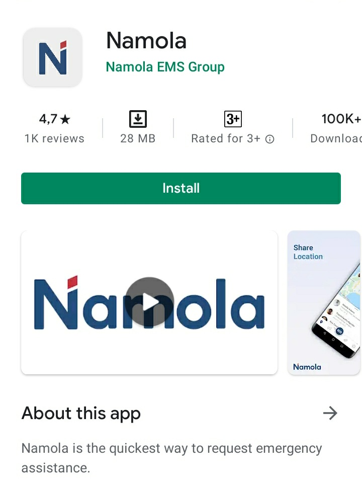 This is the @NamolaApp go download it will save you, a family or a friends life. Be safe!! #MissingPerson #SMG #safe