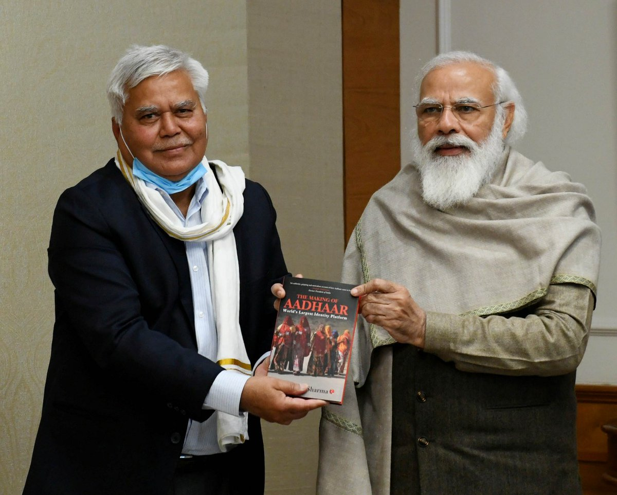 "Shri @rssharma3 presented his book, ""The Making of Aadhaar: World's Largest Identity Platform"" to PM @narendramodi."
