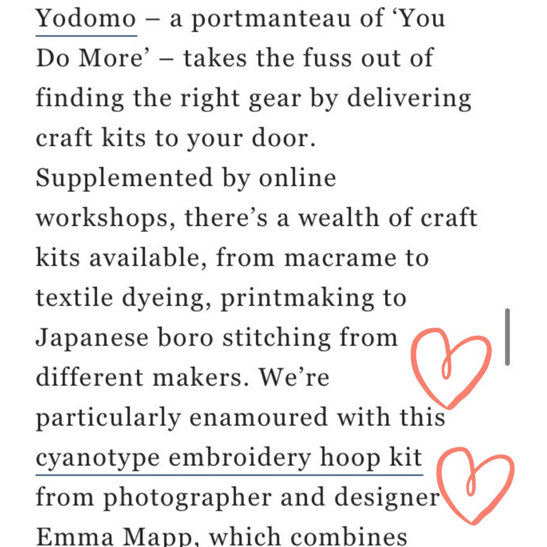 Well, this has certainly cheered me up on this grey day! Delighted to have been included in @craftsmagazine 's list of top 10 DIY kits ❤️🤗🌱#design #botanicalart #cyanotype #london #crafting #handmade #giftideas