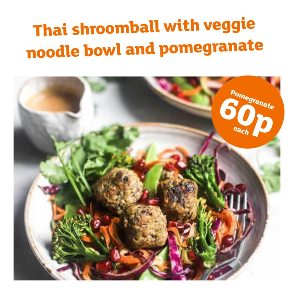 Not sure what to have for lunch? How about our delicious noodle bowl with pomegranates just 60p, it's a win win 🍜