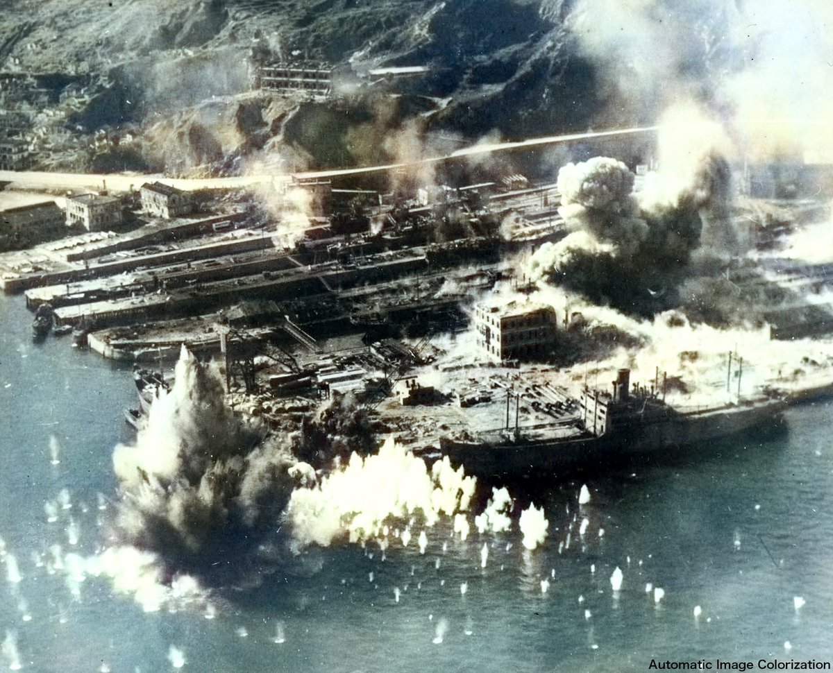 76 years ago today. 16 Jan 1945, Taikoo Dockyard facilities under American aerial attack, Hong Kong. Automatic image colorization + manual correction. #PhotoOfTheDay