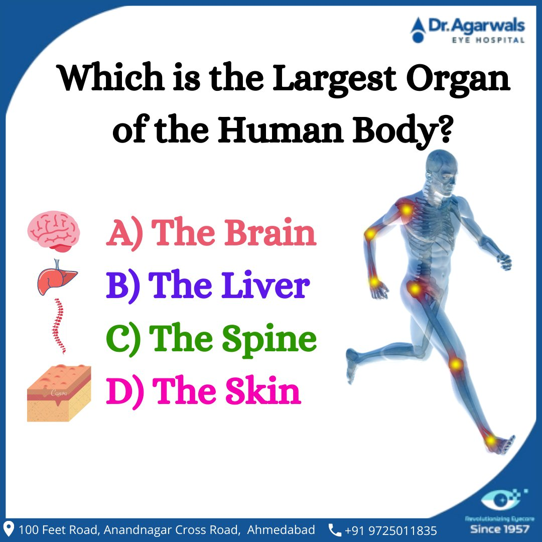 Lets check your General Knowledge ...... #dragarwaleyehospitalinahmedabad #dragarwalinahmedabad #eyehospitalinahmedabad #eyehospital  #humanbody #science #anatomy #art #medicine #health #human #biology #body #doctor #medical #facts #photooftheday #medstudent #back #nurse #muscle