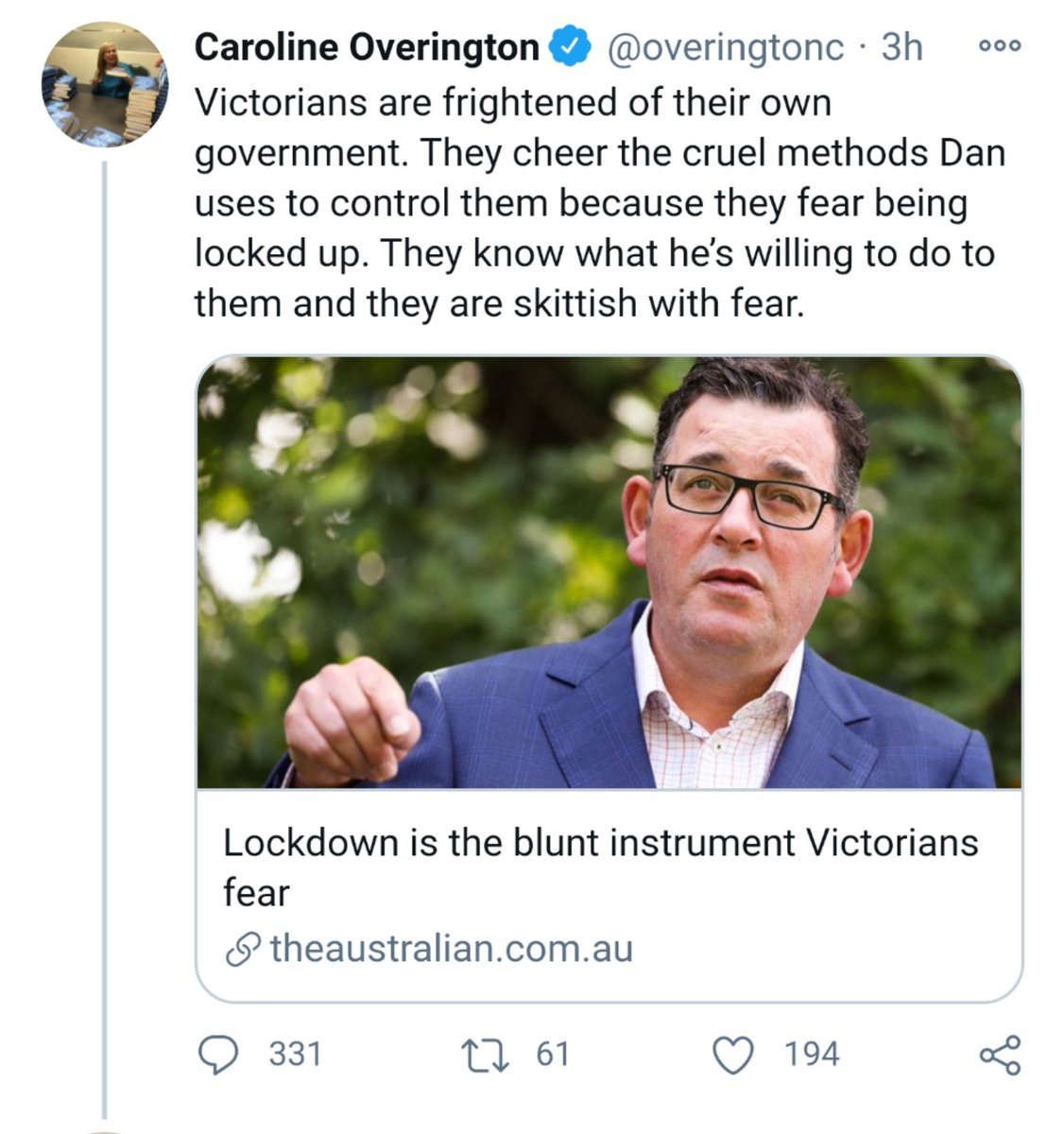 #BreakingNews  Victorian criminal underworld hunts for the motherload of whatever it is that Ms Overington has been smoking.  #AusPol https://t.co/sbBMWAEFLm