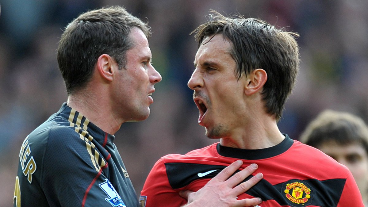With the massive rivalry coming head to head again tomorrow.....this has to be the best photo of you guys @Carra23 @GNev2  #LFC #MUFC   Enjoy the match.....who will be posting the champagne 🍾 photo on Sunday evening?