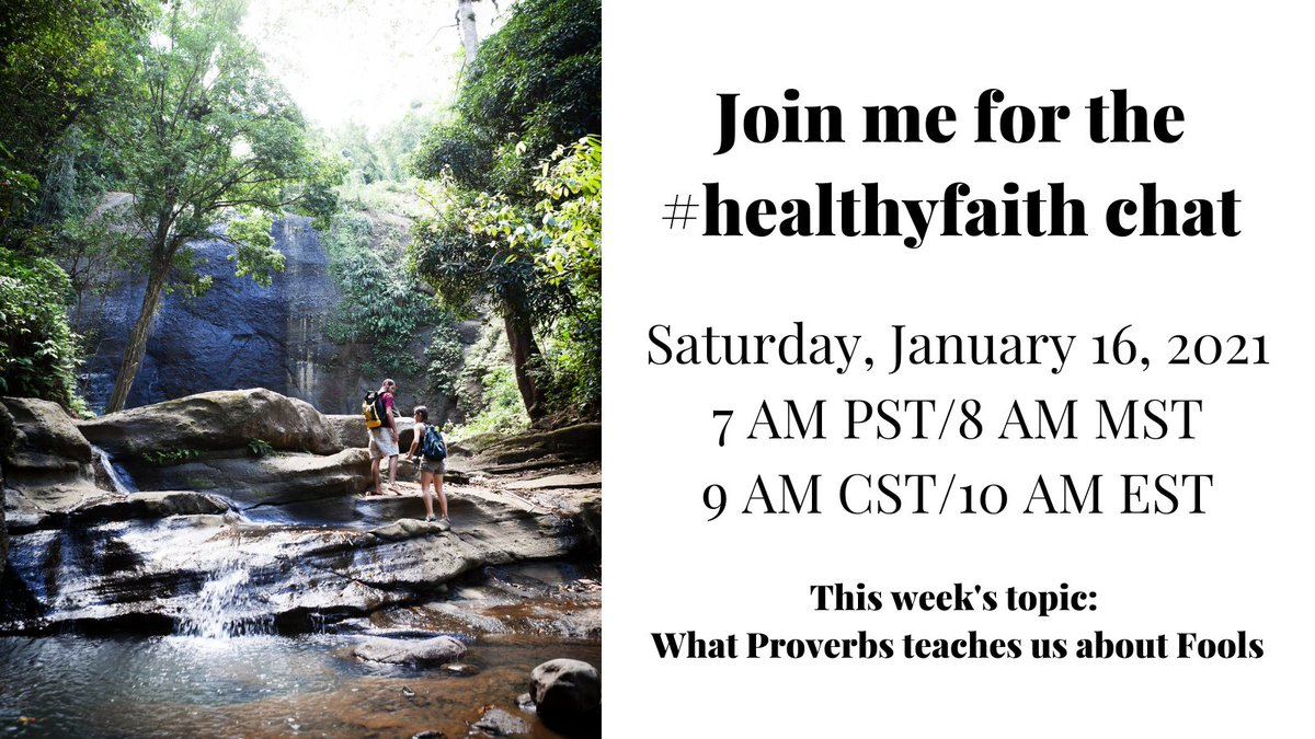 Want to grow your faith this morning? Join me on my first time hosting the #HealthyFaith chat today!  We'll discuss what Proverbs teaches us about fools. Follow the hashtag for details. All are welcome! #spiritualgrowth #SaturdayMorning