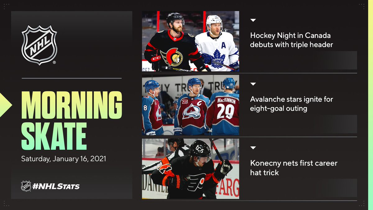 NHL Morning Skate: Saturday, Jan. 16, 2021  ▪ #HNIC makes season debut ▪ @Avalanche bounce back with eight goals Friday ▪ Konecny propels @NHLFlyers with hat trick  #NHLStats: