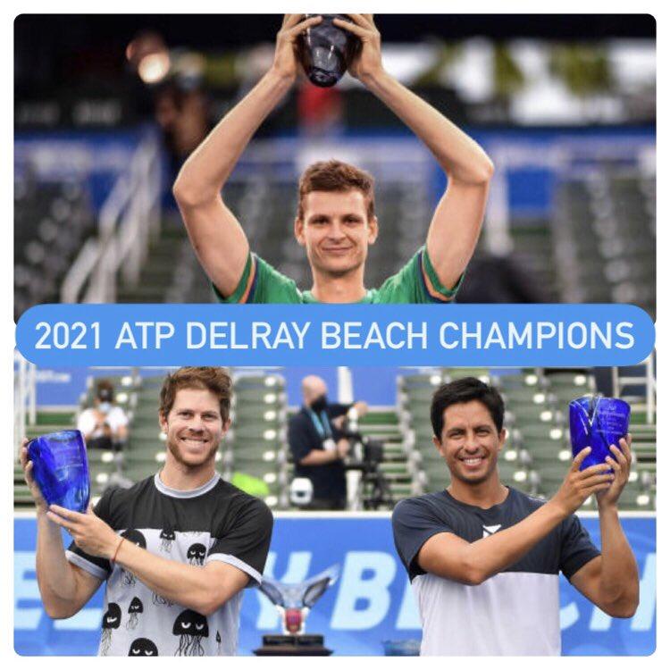 2021 ATP DELRAY BEACH CHAMPIONS  Singles - Hubert Hurkacz  Doubles - Ariel Behar & Gonzalo Escobar  🇺🇸🏆  (📸 - Getty Images/Mark Brown)  #ATPTour #DBOpen https://t.co/CH2z1RXRli