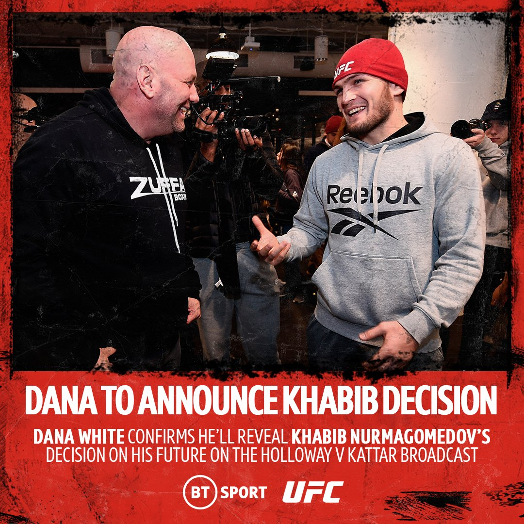 🚨 Set your reminders 🚨   🕗 Tune in to BT Sport 2 HD at 8pm as Dana White will confirm @TeamKhabib's decision  You do not want to miss this!  #UFCFightIsland7