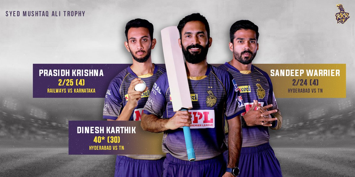 Our Knights have stamped their authority at the #SyedMushtaqAliTrophy 💪🏻  @DineshKarthik, #SandeepWarrier and @prasidh43 churned out impressive performances for their respective teams 💯  #KKR #Cricket