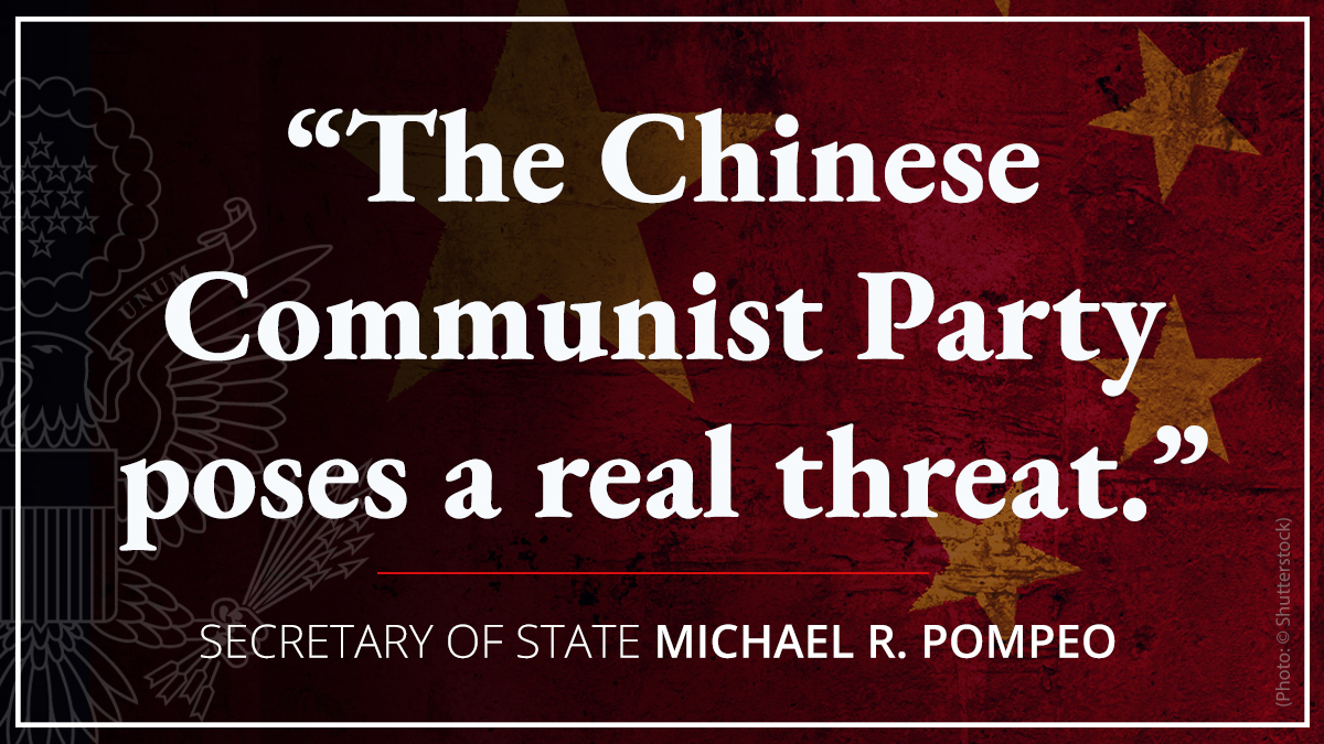 The Chinese Communist Party is a threat. The people of China are not. For 50 years, America bent its knee to China. Under the Trump Administration, no more.