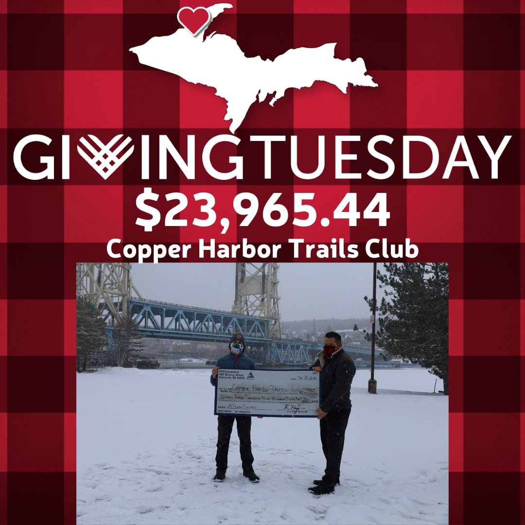 Our northernmost partner during #GivingTuesday 2020 was Copper Harbor Trails Club. What an amazing year it was for them. They raised $23,965.44! The money will be used to make improvements to one of their signature trails - Daisy Dukes! #CopperHarbor #UpperPeninsula