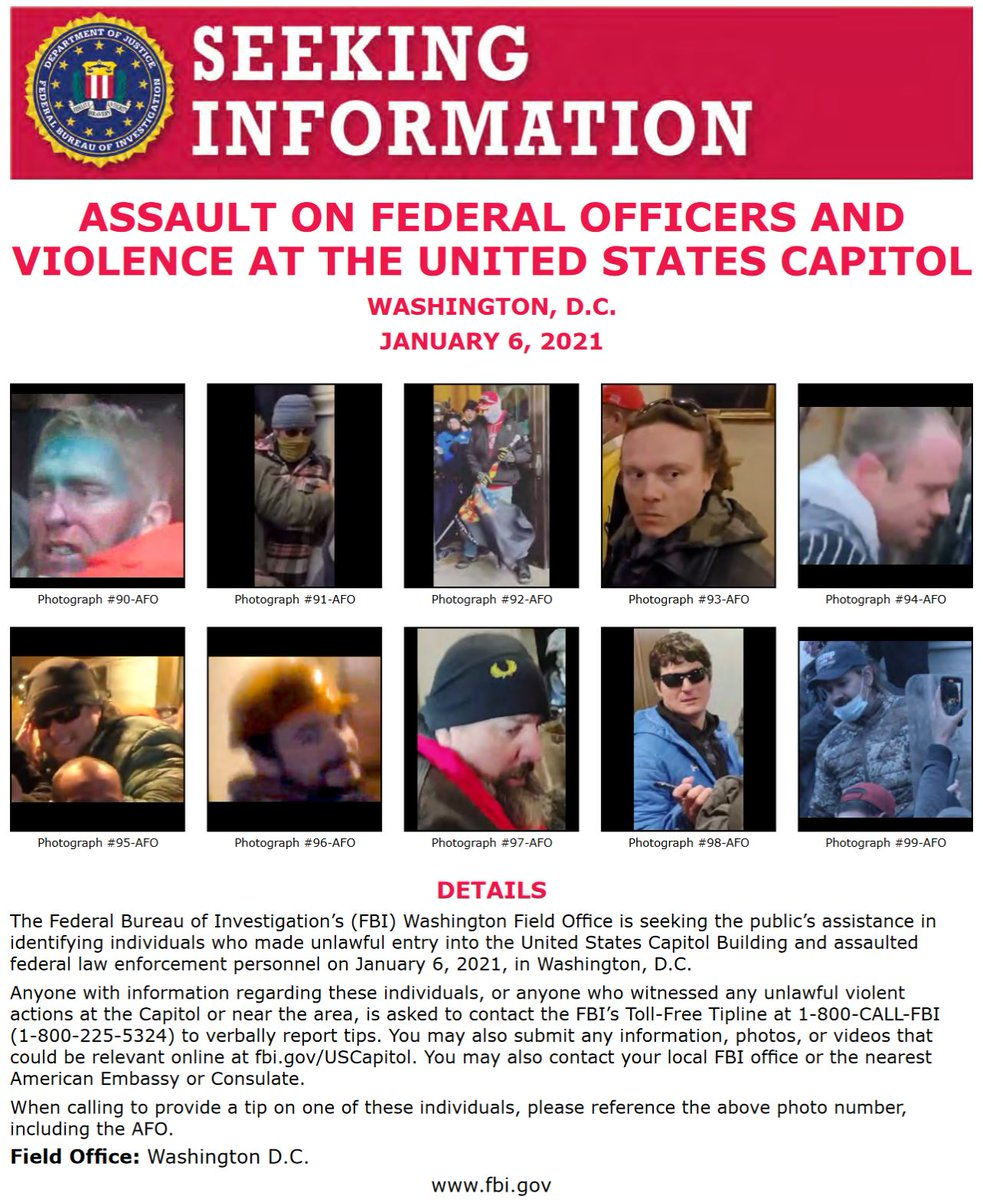 #FBIWFO is seeking the public's help in identifying those involved in assault on law enforcement officers at the US Capitol on Jan 6. If you have info, call 1800CALLFBI or submit photos/video to .