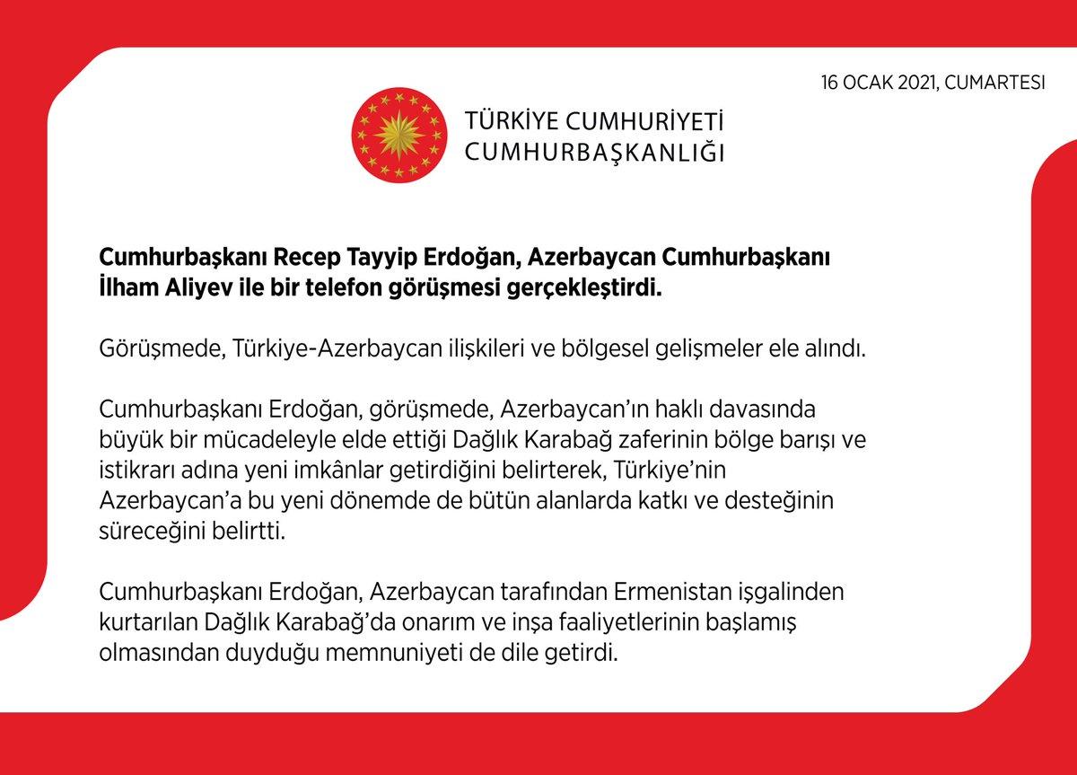 Cumhurbaşkanı @RTErdogan, Azerbaycan Cumhurbaşkanı İlham Aliyev ile bir telefon görüşmesi gerçekleştirdi.