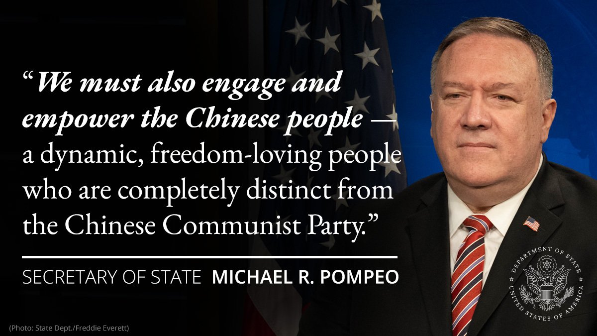 The Chinese Communist Party is not the same as the Chinese people. We support the aspirations of the Chinese people to live free of the CCP's authoritarian rule. I made this clear in my Nixon Library speech.