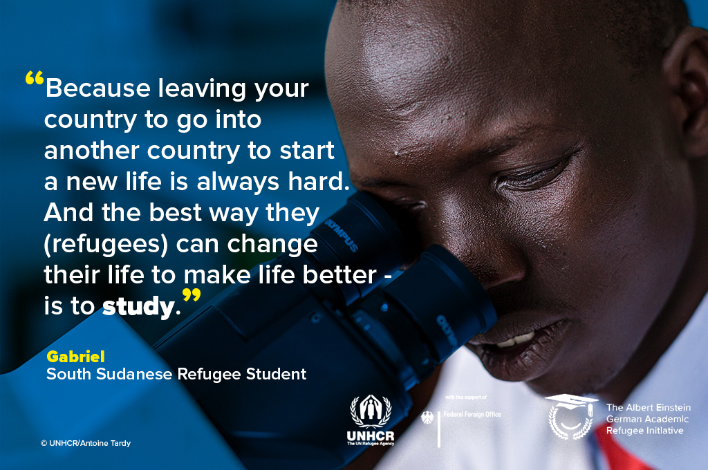 🔬Meet Gabriel.  Gabriel dreams of bringing quality medical care to his community in South Sudan. Your support can help young refugees like Gabriel achieve their dreams. 👉