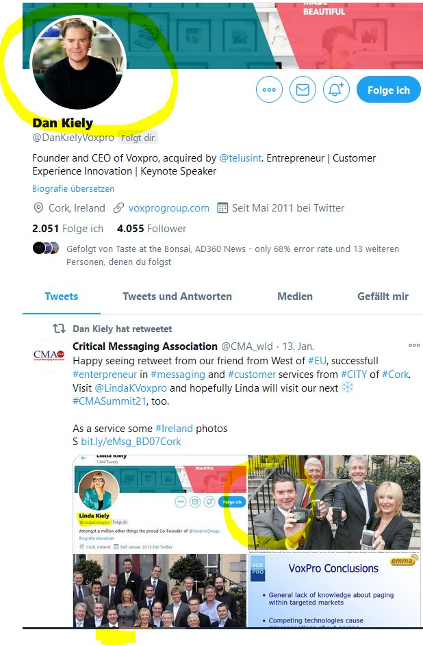 """Many greetings to @DanKielyVoxpro. Jointly worked in #criticalmessaging Business. Dan and his wife Linda are from #Cork-great #City different from Irish Capital, not trying to be """"me, too"""". Same for the Kielys, #entrepreneurs and excellent people  Different,🌏#DownToEarth,🤔#NP2M"""