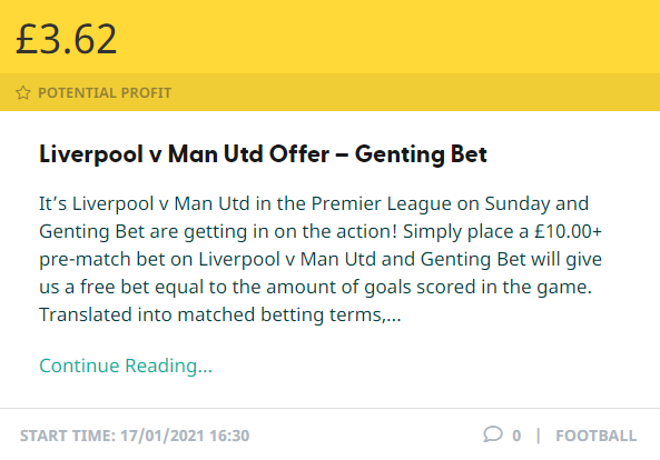 Make £3.62 potential profit on Sunday with this GentingBet offer! on Liverpool v Man Utd #LIVMUN  SEE HOW: